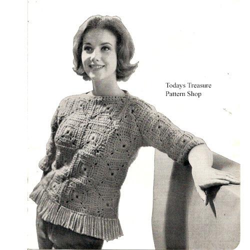 Crochet Block Sweater Pattern with Fringe Hem
