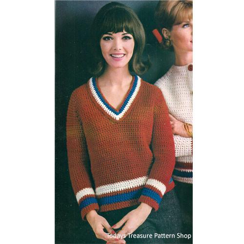 Crochet V-Neck Sweater Pattern