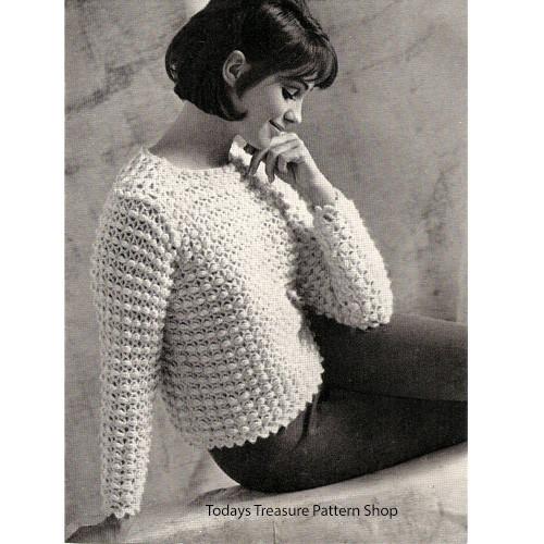 Crochet Sweater Pattern in Puff Stitch