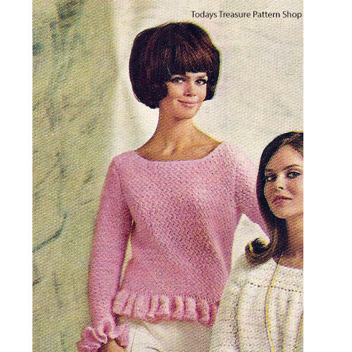 Crochet Sweater Pattern with Ruffled Trim