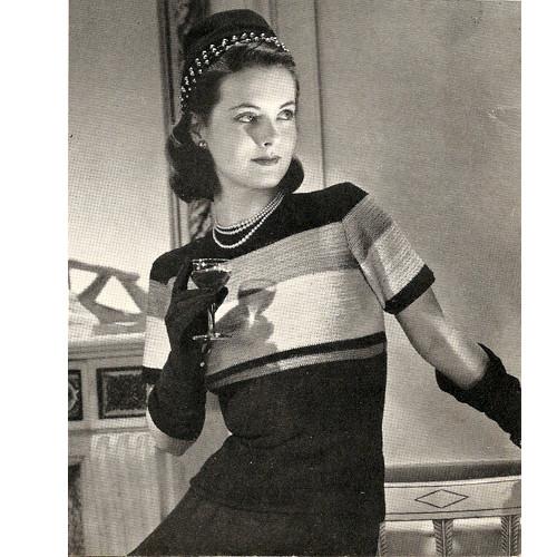 Vintage 1940s Color Block Blouse Crochet Pattern
