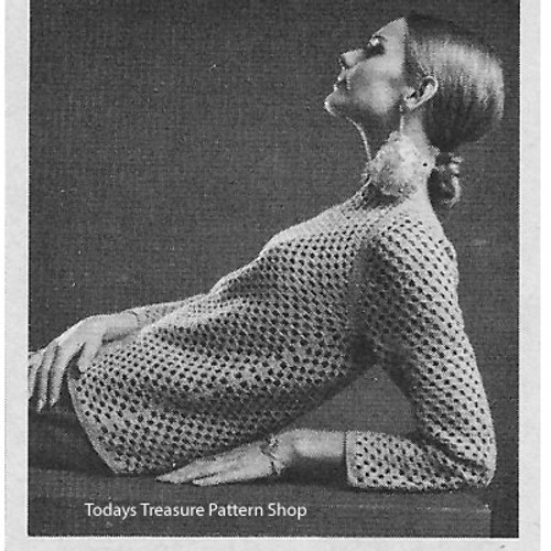 Vintage Crochet Net Pullover Pattern