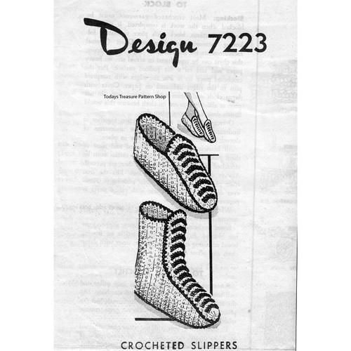 Mail Order Design 7223, Crochet Slippers Boots patterns