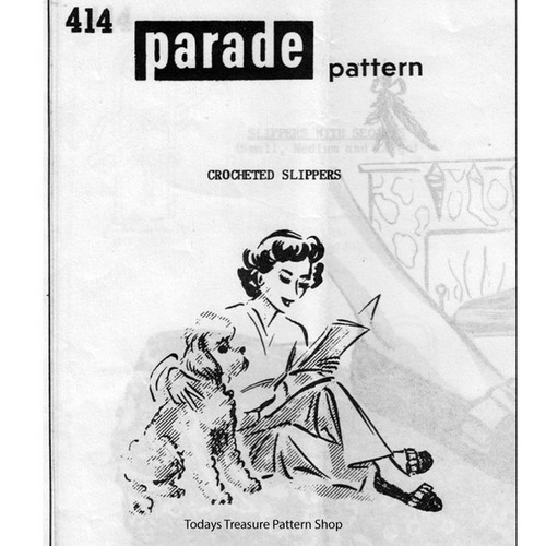 Mail Order Design 414, Crochet Slippers Pattern