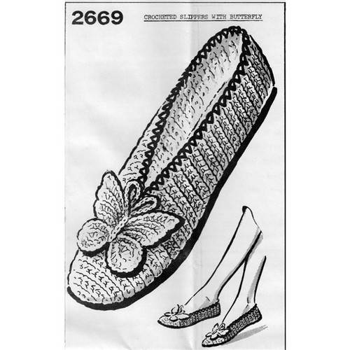 Mail Order Design 2669, Crochet Slippers Pattern