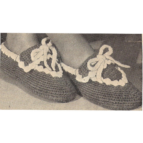 Crochet Mary Jane Slippers Pattern, Vintage 1940s