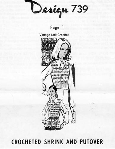 Crochet Tunic Pattern, V-Neck, Mail Order Design 739