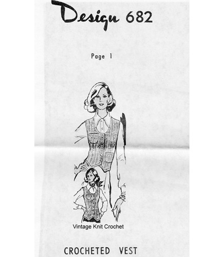 Fitted Vest Crochet Pattern, Shaped Hemline, Mail Order 682