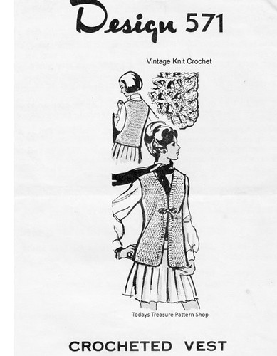 Easy Crochet Vest pattern, Lacy Stitch, Mail Order 571