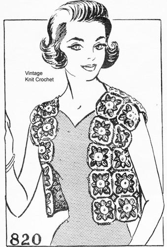 Crochet Granny Square Vest Pattern, Mail Order 820