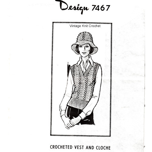 Crochet Popcorn Stitch Vest Hat Pattern, Mail Order Design 7467