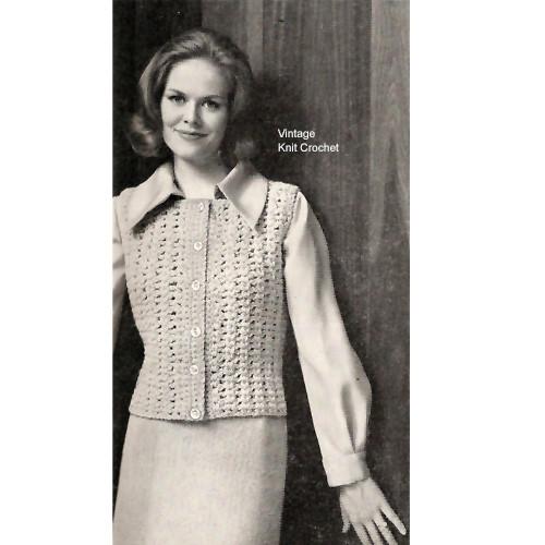 Vintage Crochet Sleeveless Top Pattern, an Eton
