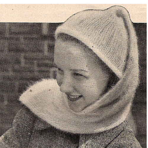 Knitted Tube Hat Pattern, Vintage 1940s