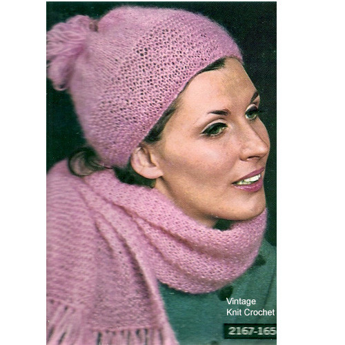 Knitted Beanie Hat Scarf Pattern in Mohair Yarn