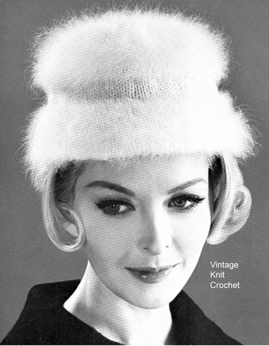 Vintage Knitted Angora Hat Pattern