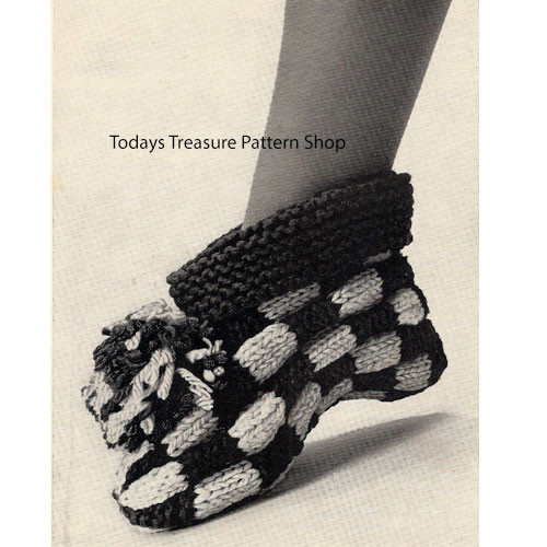 Knitting Pattern Checkerboard Boots