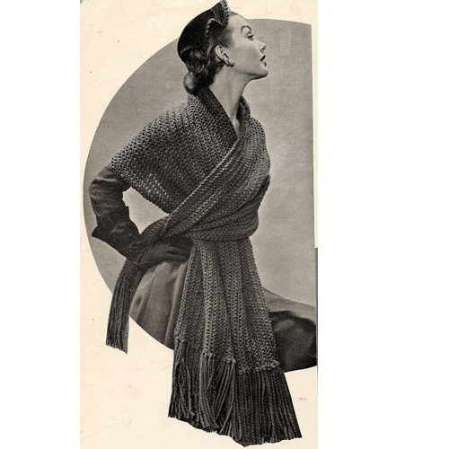 Easy Stole Knitting Pattern, Vintage 1950s