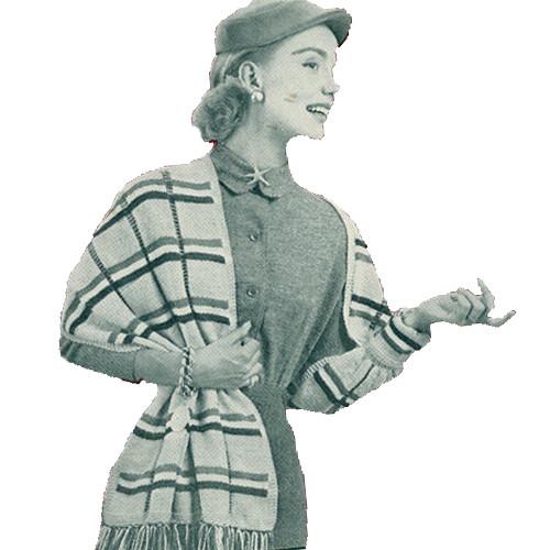 Knitting Pattern, Plaid Shawl