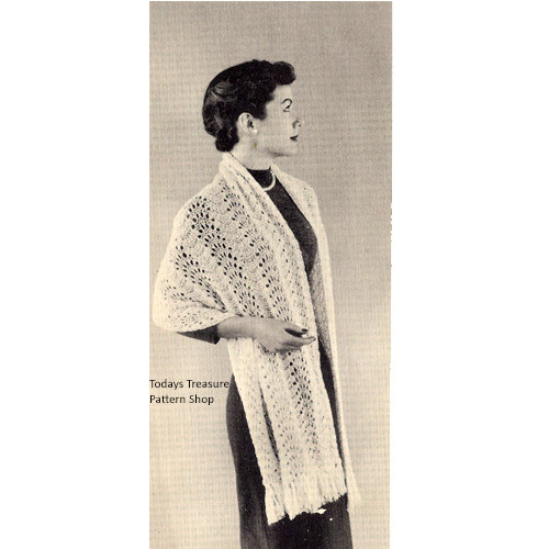 Knitted Stole Pattern, Vintage Lace