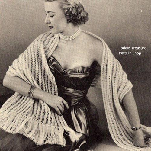 Striped Lace Stole Knitting Pattern