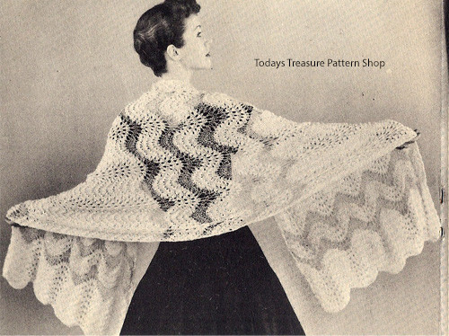 Knitted Ripple Lace Stole Pattern