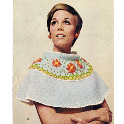 Knitted Capelet Pattern with Flower Yoke