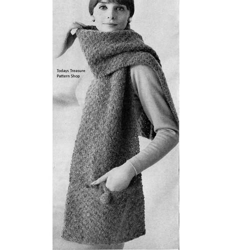 Knitted Pocket Stole Pattern,  Vintage 1950s