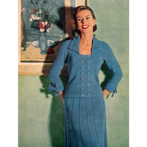 Vintage Knitted Suit pattern with Square Neck