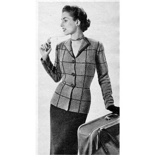 Knitting Pattern Plaid Suit, Vintage 1950s