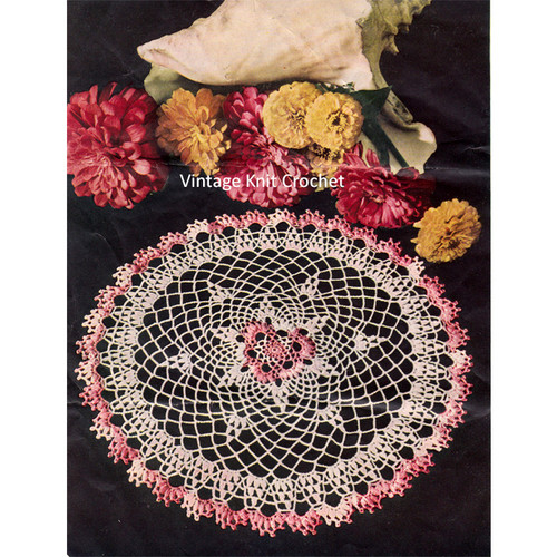 Shaded Pink Crochet Doily Pattern
