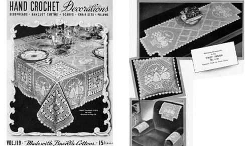 Vintage Tablecloth Pattern in Filet Crochet Fruit Blocks