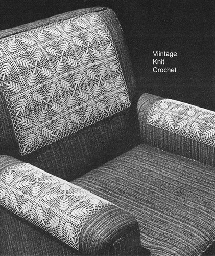 Crocheted Chair Set Pattern, Laurel Squares