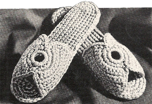 Free Crochet Slippers Pattern, Vintage 1960s