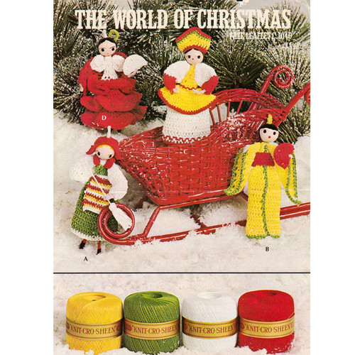 Free Crochet Dolls Pattern, Christmas Ornaments Leaflet 1046