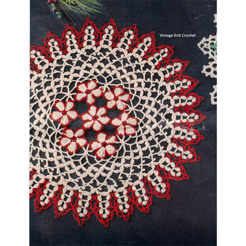 Crochet Daisy Doily Pattern in Red White