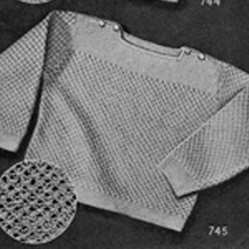 Knitted Baby Sweater Pattern, Square Neck, Shoulder Buttoned