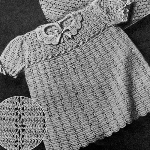Crocheted Baby Dress Pattern, Puff Sleeves, Vintage 1940s