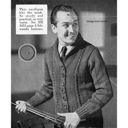 Mans Vintage Cable Cardigan Knitting Pattern