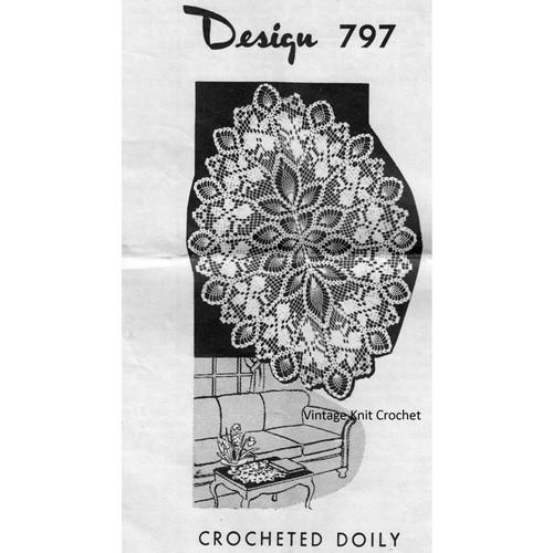 Laura Wheeler 797 Filet Crochet Oval Doily Pattern