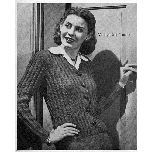 Knitted Ribbed Cardigan Pattern, Vintage 1944
