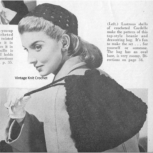 Shell Stitch Beanie Pattern with Drawstring Bag, Vintage 1944