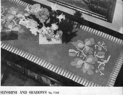 Flower Filet Crochet Runner Pattern, Sunshine Shadows