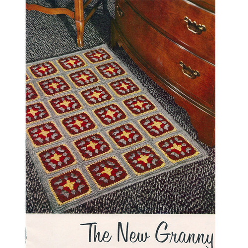 Vintage Crochet Rug Pattern in Colorful Granny Squares
