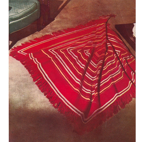 Square Afghan Crochet Pattern, Red with White Stripes