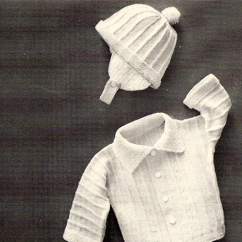 Knitted Baby Boy Jacket Cap Pattern