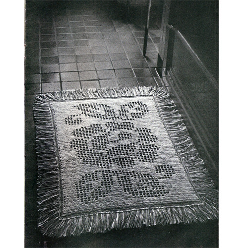 Rose Embroidered Crochet Rug Pattern with fringe