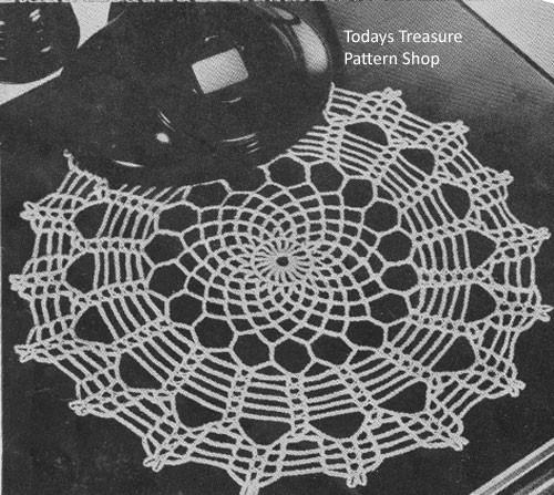 Vintage 1940s spiderweb crochet doily pattern