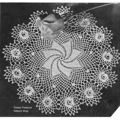 Pinwheel Crochet Doily Pattern with Rosette Border
