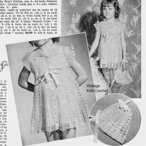 Girls Lace Crocheted Dress Pattern, Buttoned with Empire Waist
