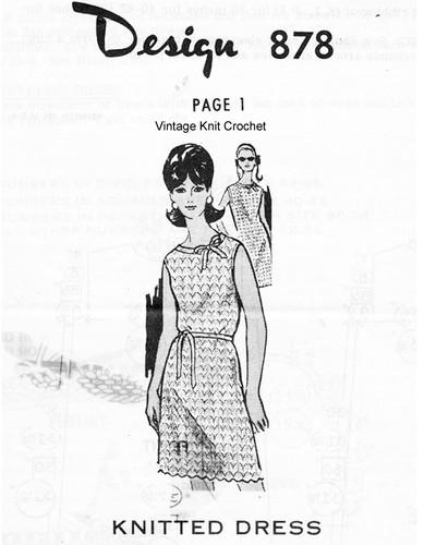 Sleeveless Dress Knitting Pattern, Mail Order Design 878